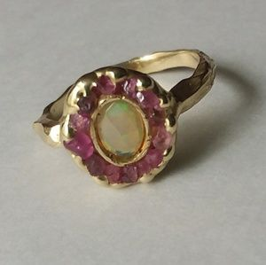 Gold and Opal Raw Ring size 7
